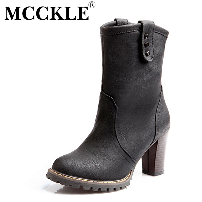 MCCKLE woman fashion Womens Western Cowboy Boots Soft Leather Motorcycle Boots 2017 Autumn Winter Round Toe  High Heels Shoes <br><br>Aliexpress