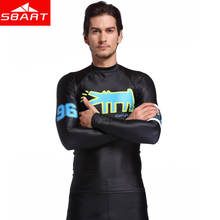 SBART Mens Long Sleeve Sunscreen Surfing Wetsuit Rash guard Diving Surf UV Shirt Swimwear Rash Guard Men Swimwear T-Shirts(China)