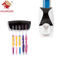 Hourong 1 Set Toothbrush Holder Automatic Toothpaste Dispenser Squeezer Bathroom Set Bathroom Product Accessories Set(China)