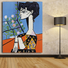World famous paintings Picasso abstract painting Girl Seeing Flowers Portrait oil painting Printed on canvas Wall art picture