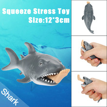 12cm Shark Toys Squeeze Fun Stress Reliever Press to Spit Leg Kids Novelty Toys Fun Joke Squishy Animals Squeeze Healing Toy(China)