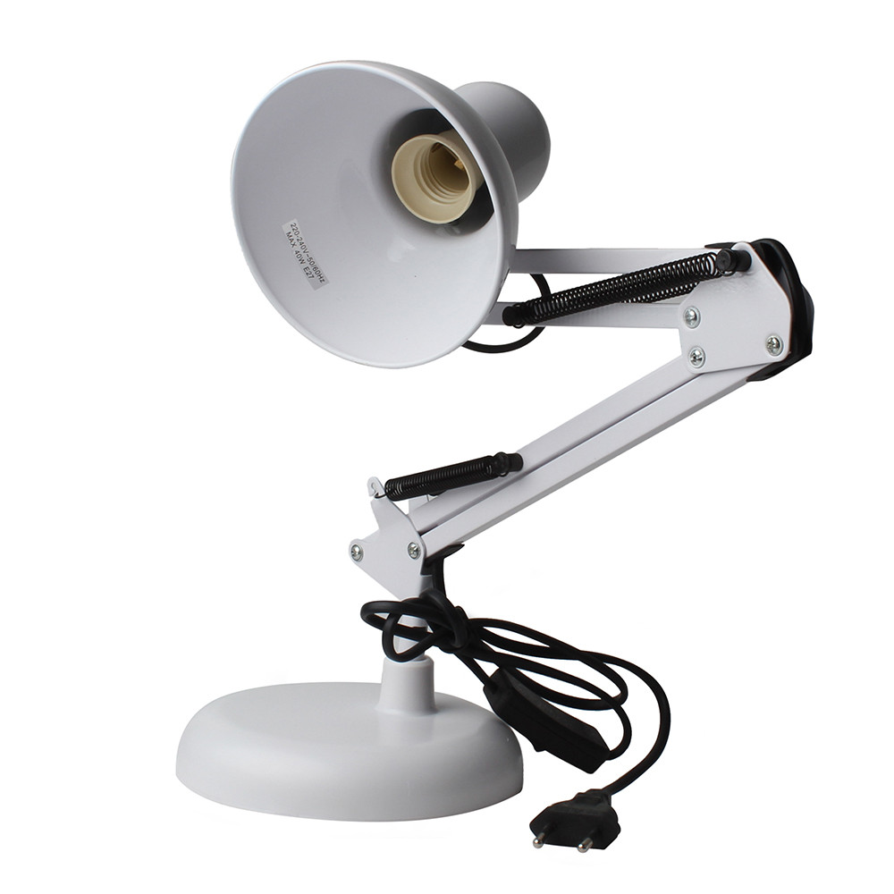 White Adjustable Swing Arm Drafting Design Office Studio Clamp Table Desk Lamp Light(China (Mainland))