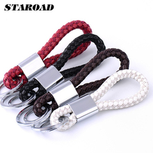 Car Styling Braided Leather Strap Keychain Car Key Ring Fob Key Holder For BMW VW Audi Toyota Honda Ford Accessories(China)
