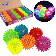 (LONSUN)LED Luminous Children Toy Bouncing Hedgehog Puffer ball Outdoor Toys Kids Sport Games Elastic Jumping Balls Vent Toy(China)