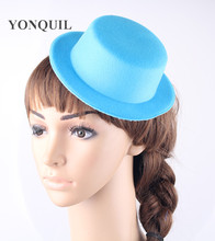 12PCS/lot 17CM turquoise women Hen Party Felt Mini Top Hat Hair Fascinator Base DIY Mini hat show hat wedding church occasion(China)