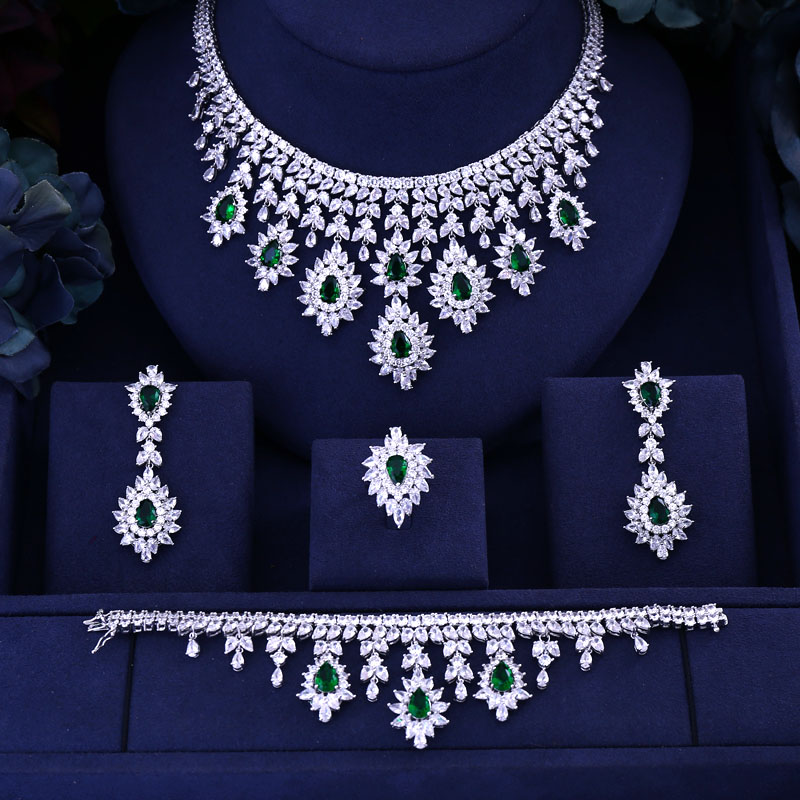 Green Blue Black Red cubic zirconia necklace drop earrings bracelet and ring 4pcs dubai wedding Bridal full jewelry set