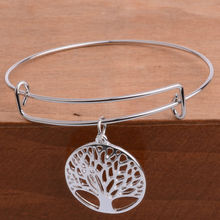 12PCS/Lot Wholesale Fashion Silver Plated Hollow Out Tree of Life Pendant Expandable Wire Adjustable Bracelet Bangle Women Girl