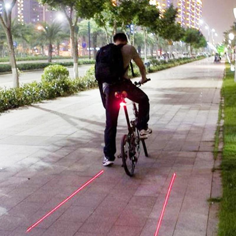 Laser Lane LED Bike Light Bicycle Safety Night Cycle Red Beam Lamp Rear Front