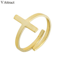 V Attract Metalwork Pink Gold Color Cross Rings Stainless Steel Bijoux Bague Homme Adjustable Knuckle Ring Women Men Jewelry(China)