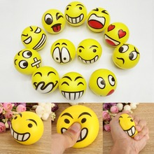 12PCS 6.3cm Smile Face Print PU Ball Squeeze Stress Ball Relief Toy Hand Wrist Exercise PU Rubber Toy Balls Decompression Toy