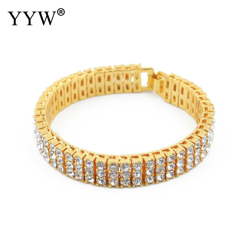 Rhinestone Gold color hip hop Iced bling bling 12cm long size cuban link chain bracelet men jewelry