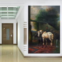 Wall Art, Wall Decor, Wall Painting White and black horse Digital oil Painting Print, Nice Painting for wall picture no frame(China)