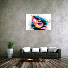 Wall Art For Large Fashion Painting Canvas Women Face Picture Abstract Figures Hand Painted Colorful Sexy Girl Oil Painting(China)