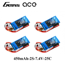 4X Gens ace Lipo Battery 7.4V 450mAh Lipo 2S Battery Pack 25C-50C JST-SYP-2P Plug Batteries for 250 Helicopter AIrplane RC Toy(China)