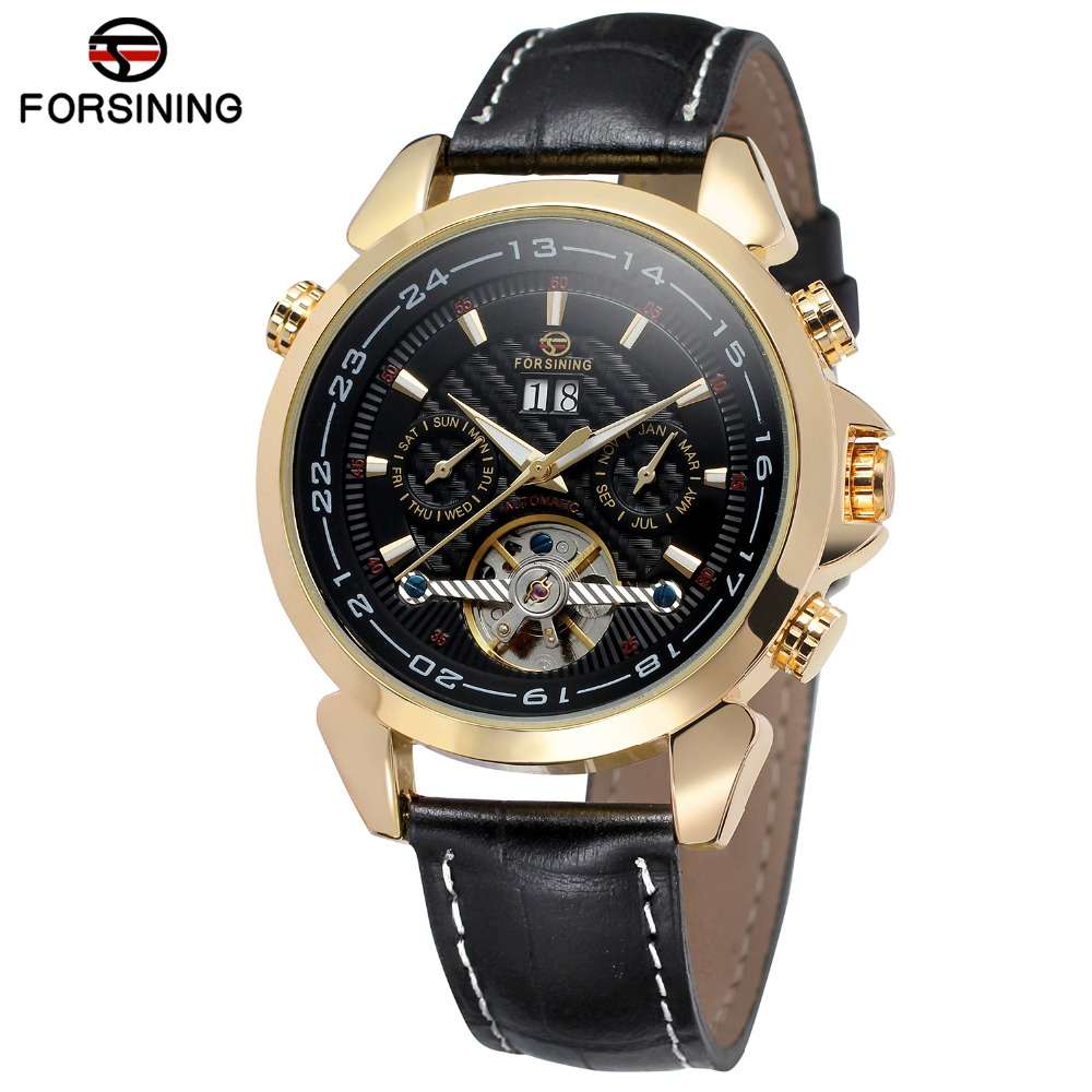 FORSINING Mens High End Automatic Tourbillon Transparent Crystal Dial Complete Calendar Watch with Genuine Leather  FSG057M3<br>