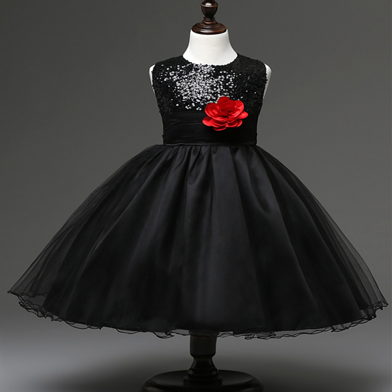 high quality sequined flower girl short kids black party dresses 2016<br><br>Aliexpress