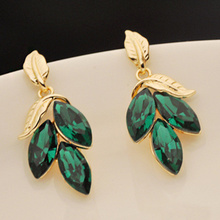 New hot sale Korea gold plated jewelry earring elegant turquoise leaf earrings fashion sparkling green crystal stud earrings E88