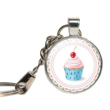 Sweetie Cupcake Keychain Glass Cabochon Wedding Dessert Party Key Chains Glass Dome Valentine Gifts Key Ring Jewelry Key Holder(China)
