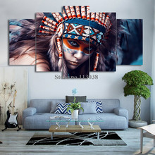 New Fashion 5 Piece Canvas Art American Indians Girl Printed Canvas Painting Living Room Wall Art Pictures(China)