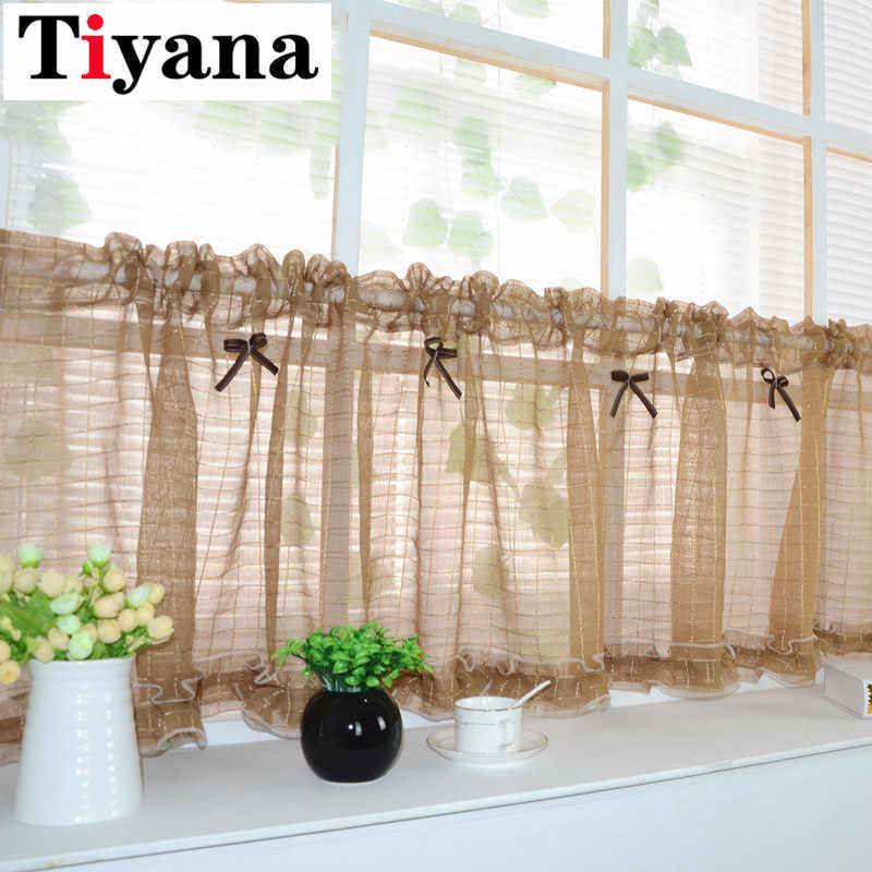 Coffee color short curtain tulle semi-shade kitchen cabinet Pink pinch pleat curtains Door Window Screens SC015D2