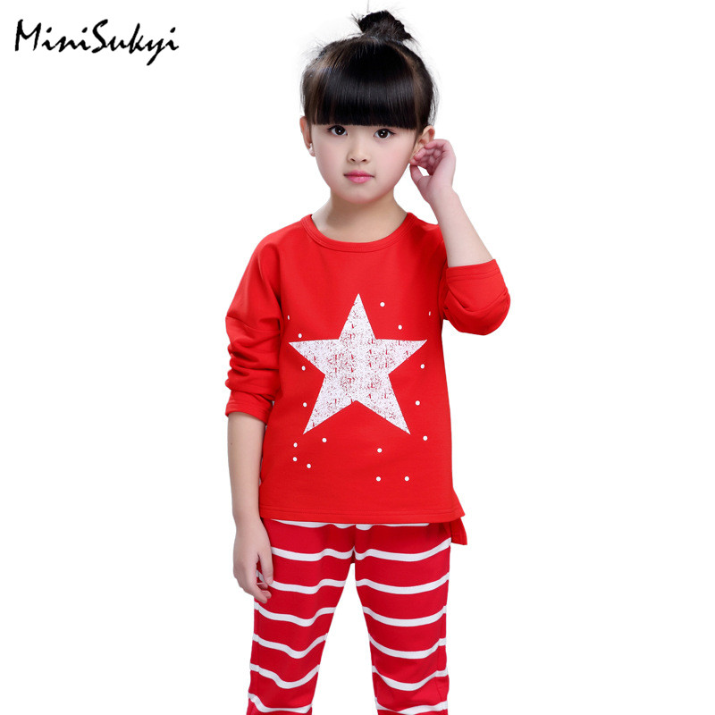 2017 Teenage Girls Clothing Sets Fashion Style Sports Suit Sets For Girl Kids T Shirt + Pant Clothing Sets Children Clothes<br><br>Aliexpress