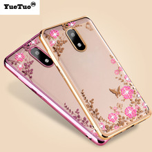 YueTuo case for NoKia 6 luxury original rose gold tpu flower silicon silicone soft diamond coque cover for NoKia6 accessories