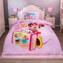 DISNEY Kids Bedding Minnie Mouse Bedding Set 100% Cotton Cartoon Duvet Cover Sheet Set Single Queen Size