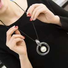 Fashion New circles simulated pearl ball pendant long necklace women black chain fashion jewelry wholesale gift