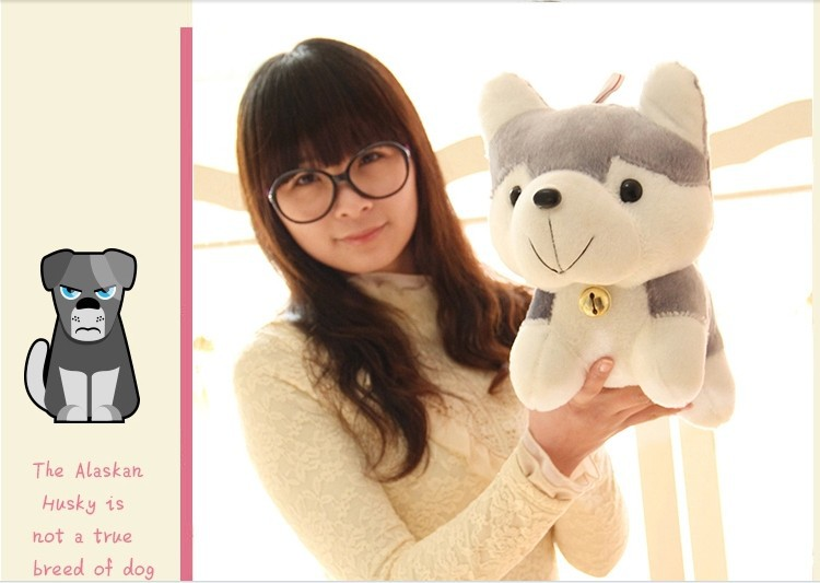 stuffed animal lovely gray husky dog  plush toy about 40cm bell dog doll 15 inch toy d988<br><br>Aliexpress