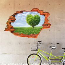 3d Wonderland Holes to nature wall sticker Fresh grass heart tree wall decals living room Bedroom wallpaper wedding decoration