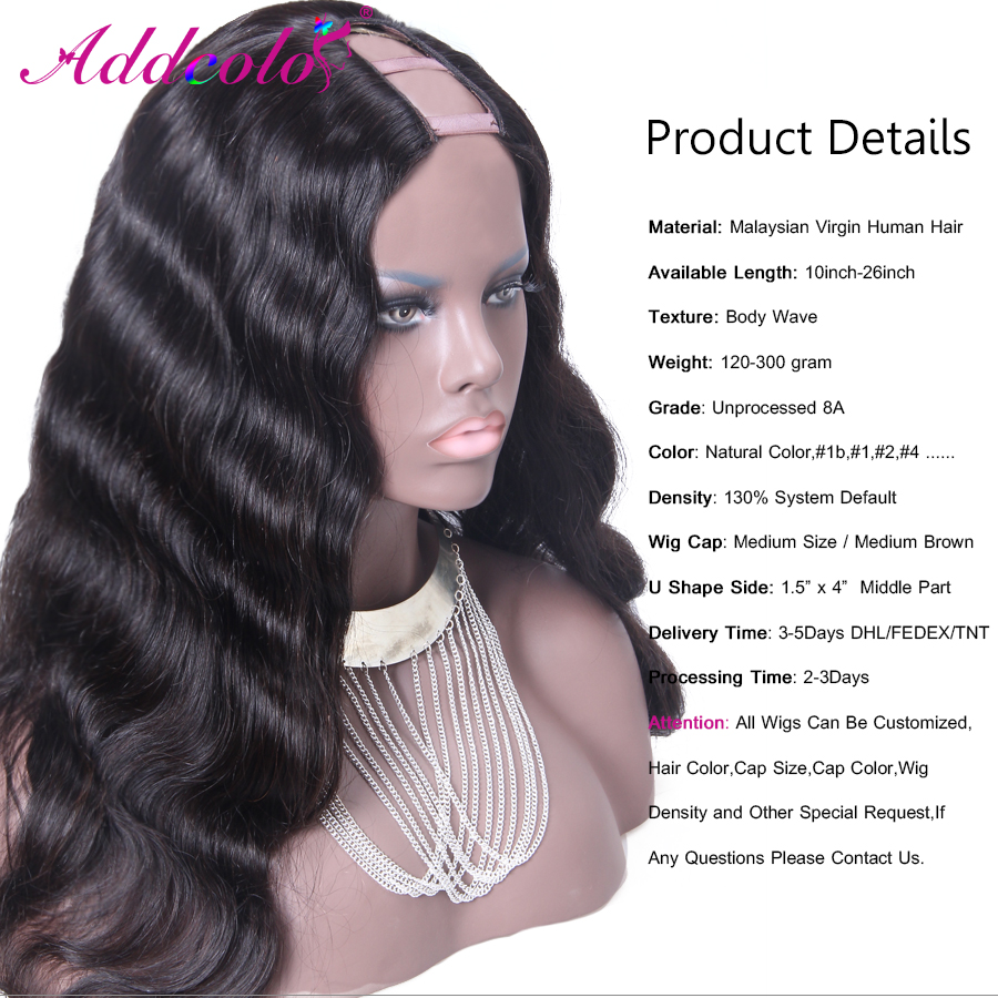 Long Body Wave U Part Wig Virgin Hair 20Inch Malaysia Remy Hair 130% Density 1.5*4Inch Middle Part Wig Accept Custom<br><br>Aliexpress