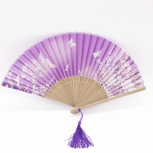 Japanese Handheld Folding Fan White Butterfly Sakura Pattern Silk Folding Fan Birthday  Wedding Party Souvenirs for Lady Women