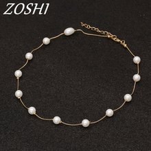 ZOSHI Brand 13Pcs Imitation Pearl Necklaces & Pendants Retro Choker Necklace Gold Color Chain Bijoux Femme Gift For Friends(China)