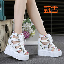The 2017 Summer High-heeled Wedges In Summer Increased Fish Mouth Thick Soled Sandals Female Hollow Muffin Rome Shoes(China)