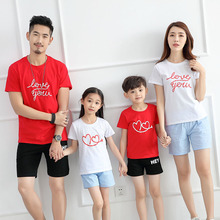 Summer, a new Letters design family matching outfit white and red colors short-sleeve t-shirts kids children clothes