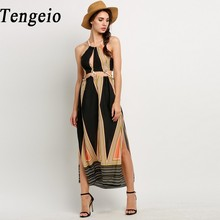 Tengeio 2017 Summer Bohemian Style Beach Dress Women Halter Cut Out Backless Side Slit Print Loose Long Maxi Dress Vestidos 30(China)