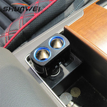 90 degree rotation car cigarette lighter one with two one point two car charger car charger Multi-angle Blu-ray(China)