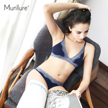 Munllure Lace comfortable cotton underwear suit without steel rims Seamless twist chest sexy bra set(China)