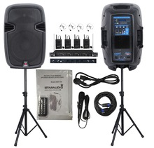 "STARAUDIO  SSD-12A  1 Set  2000W 12"" Pro PA DJ Power Active Speakers  with 4 CH VHF Headset Microphones"