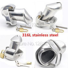 Buy New Male 316L Stainless Steel Luxury Standard Cage Chastity Device Gay Penis Sleeve Cock Ring 2 Magic Locks Sex Toy Men