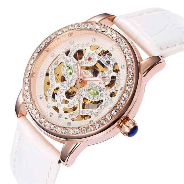 Skeleton Sapphire Crystal Women Mechanical Watch Luxury Brand SHENHUA Women Automatic Mechanical Watch Women Diamond Dress Watch<br><br>Aliexpress