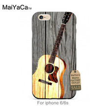 Wooden Guitar Musical Instrument Adorable Colored Drawing Hard Back phone Accessories For case iPhone 6 6s