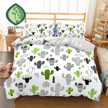 HELENGILI 3D Bedding Set Cactus Print Duvet cover set lifelike bedclothes with pillowcase bed set home Textiles #2-5(China)
