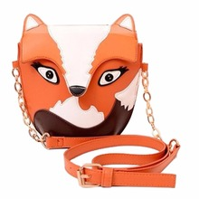 New fashion women leather handbag cartoon bag fox shoulder bags women messenger bag Orange(China)