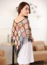 New fashion women crocheted shawl hook flower lace cape tops openwork smock fringed tops(China)
