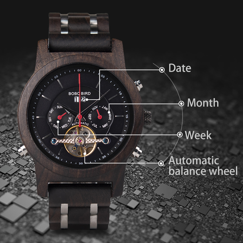 BOBO BIRD Automatic Mechanical Watches Men Wooden Luxury Watch with Calendar Display Multifuctions relogios automaticos mecanic 5