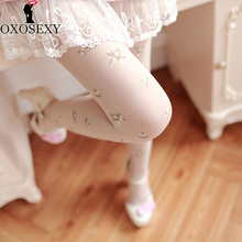 Buy 5 color blacksweet girl floral embroidery pantyhose Women stockings Mesh stockings sexy tights pantyhose nylon tights women 062