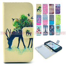 For iphone 6 case owl Eiffel Case for apple iPhone 4 4S 5 5S 6 6S Plus case with Card Holder Cover Pouch Painting Patterns
