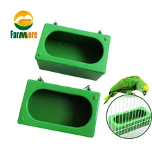 2Pcs Bird Cage Feeding Box Bird Feeder Bowl Food Container Parrot Cup Bird Feeders Cage Accessories With Wire(China)