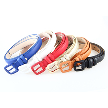High Quality Genuine Leather Female Slim Belt Fashion Women Skinny Leather Waist Strap Blue Red Brown Black Leather Thin Belt(China)